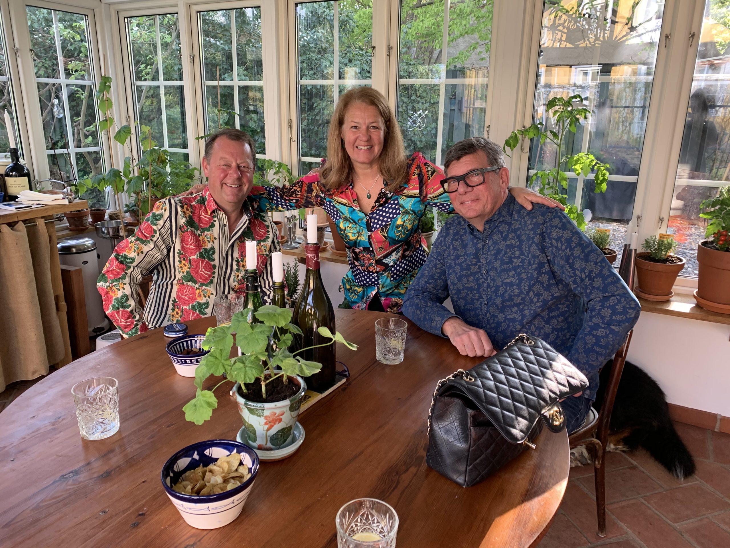 Claes, Jeanette och Richard i orangeriet