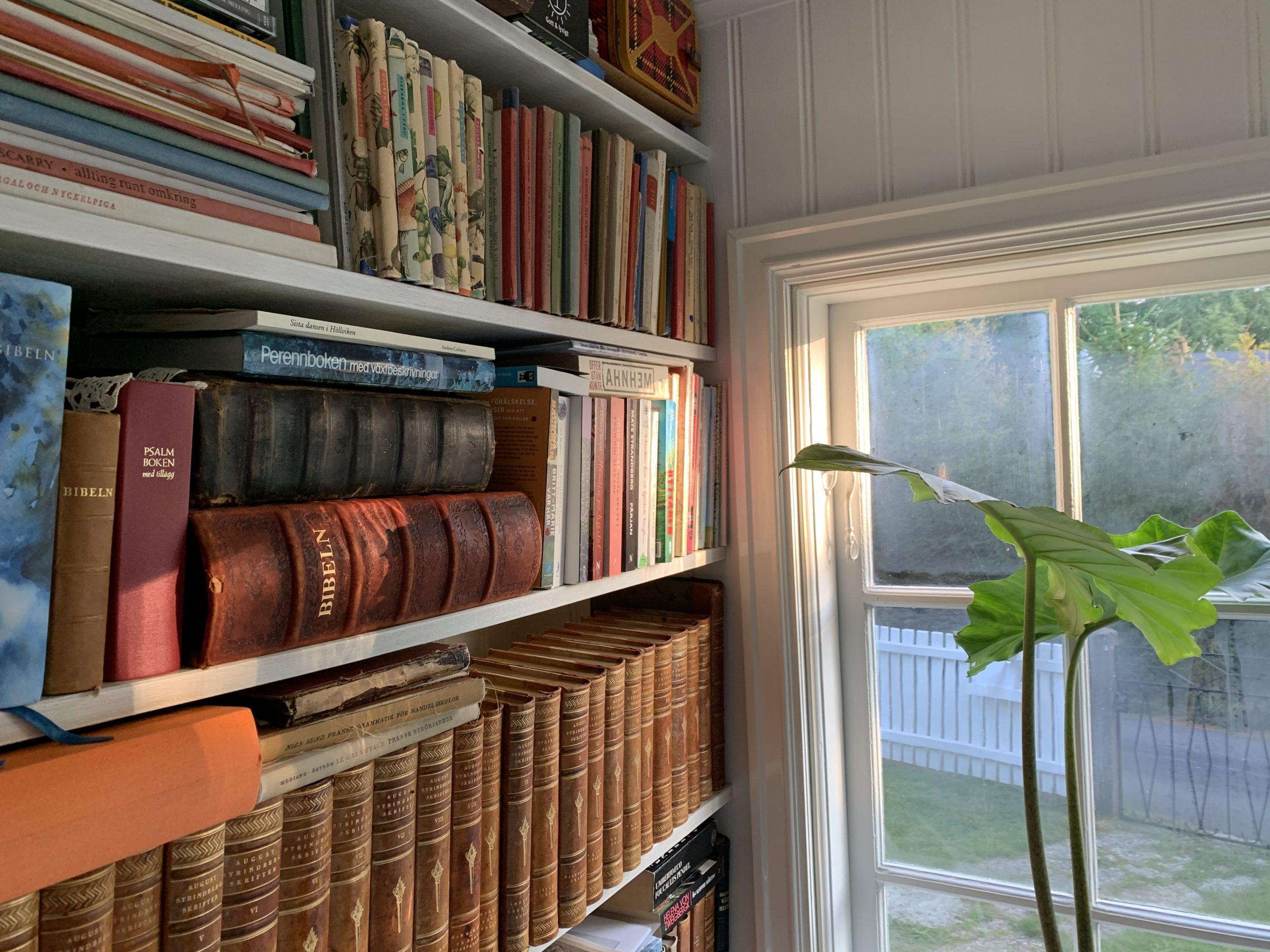 vår lilla bokhylla i sommarhuset