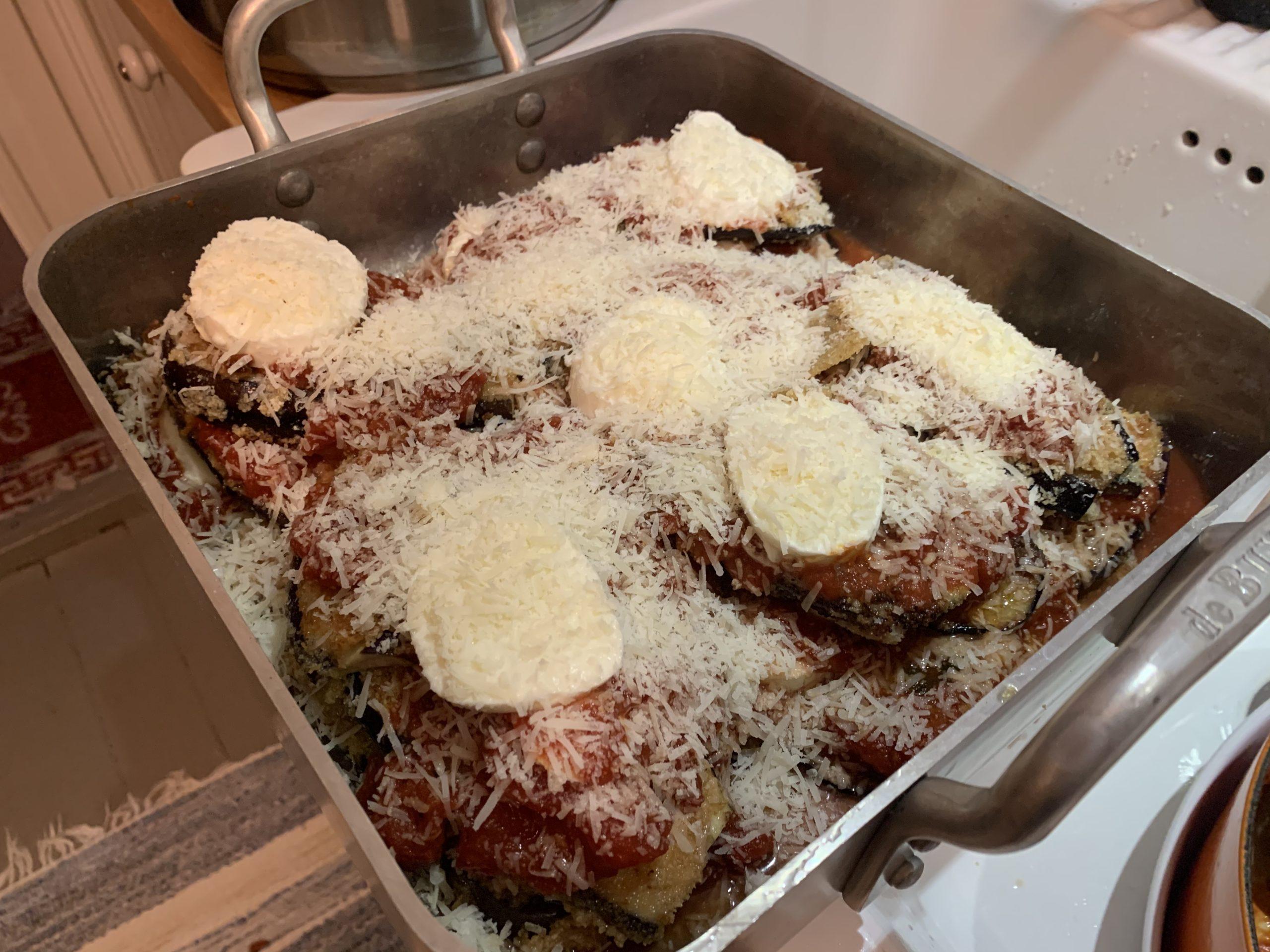 Melnzane parmigiano på gång